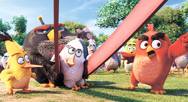 """This image released by Sony Pictures shows the characters (from left) Chuck, voiced by Josh Gad, Bomb, voiced by Danny McBride, Matilda, voiced by Maya Rudolph and Red, voiced by Jason Sudeikis, in a scene from """"The Angry Birds Movie."""" (Sony Pictures via AP)"""