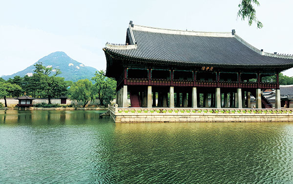 Man-made lake at Gyeongbokgung Palace