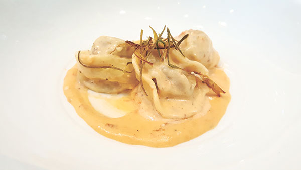 Anzani hand-rolled tortelli with liver pate, smoked cheese fondue and crisp leeks, paired with the vibrant Columbia Crest Grand Estates Pinot Gris 2010.