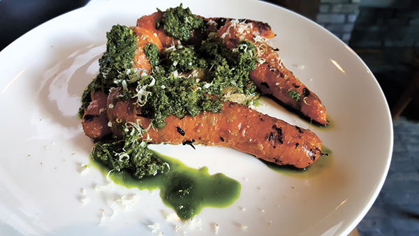Chargrilled miso carrots, baba ganoush, walnut pesto