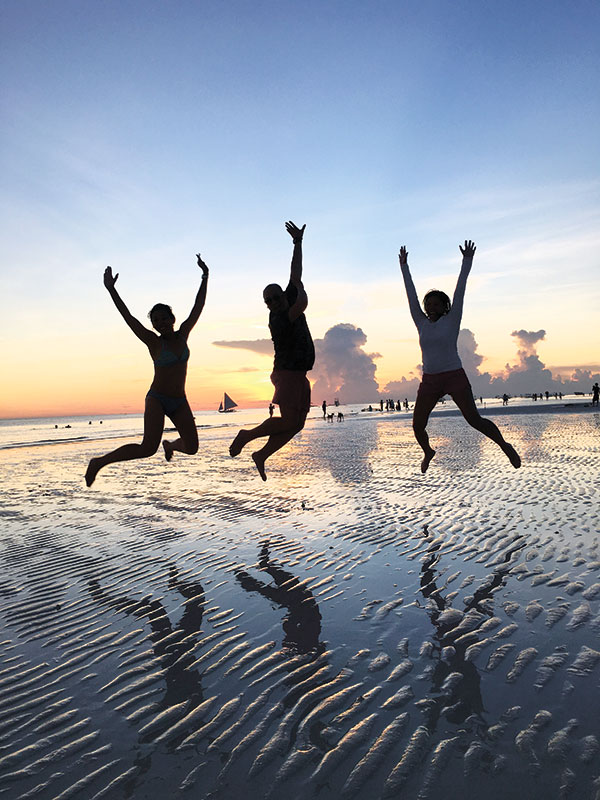 A beautiful sunset jump-shot with my sisters Marissa and May. Photo credits to our dad.