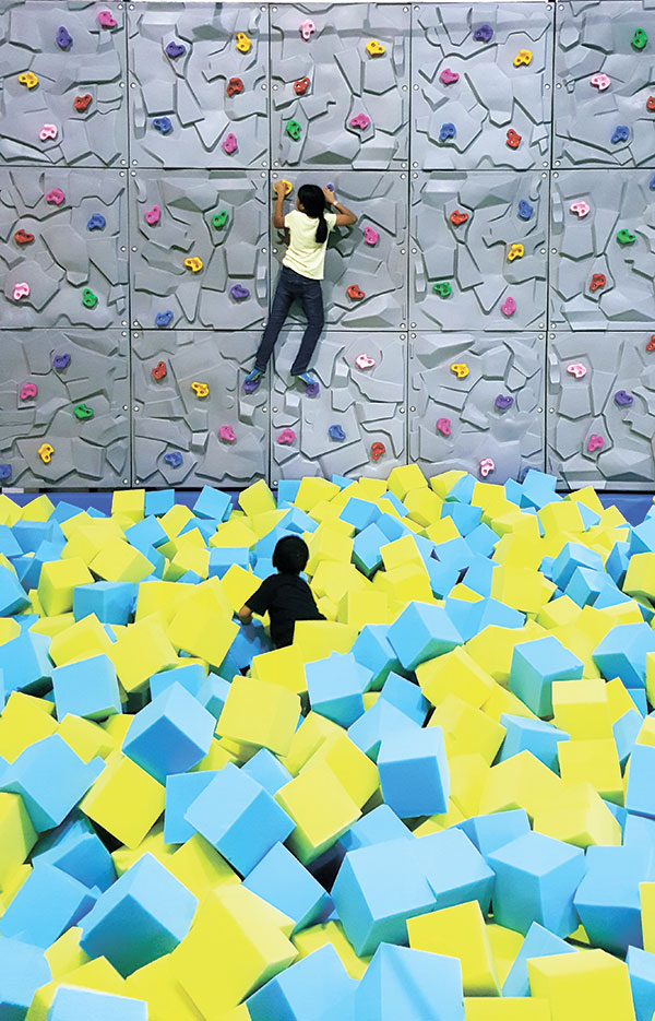A climbing wall and a foam pit. (PHOTO BY NSV)