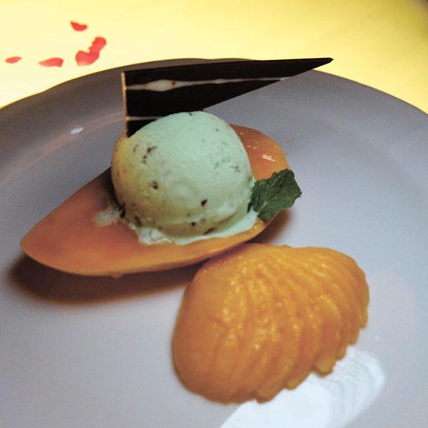 Cointreau-Marinated Mango with Mint Parfait