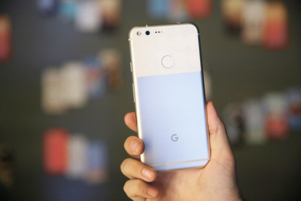 The new Google Pixel phone on display at a product event in San Francisco, California. (AP PHOTO)