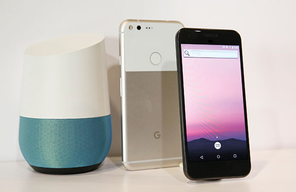 New Google Pixel phones and a Google Home smart speaker. (AP PHOTO)