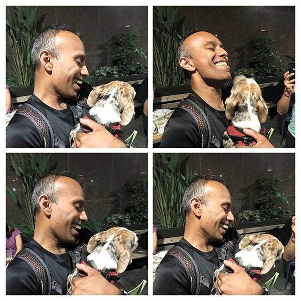 This image shows a Google collage generated by machine using images taken of a man playing with a dog. Apple and Google are both applying machine learning to organize your pictures and video, and along the way, help you rediscover last year's vacation, dinner with close friends and a casual summer outing to the park. (AP PHOTO)