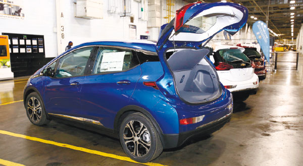 READY TO ROLL OUT. A Chevrolet Bolt EV on display at the General Motors Orion Assembly plant. (AP PHOTO)
