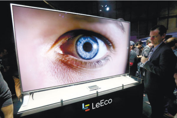 FLAT-SCREEN. A LeEco uMax 85 television is displayed at an event in San Francisco. (AP PHOTO)