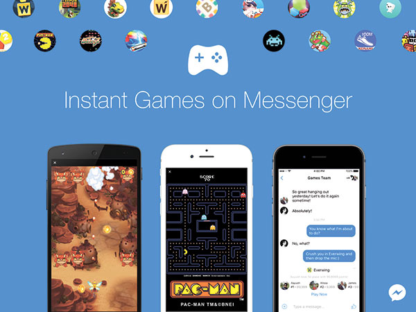"This image provided by Facebook shows a demonstration of Facebook's new option to play games with contacts on Facebook Messenger. Beginning last Nov. 29, the feature can be accessed in the latest version of the messaging app by tapping a game controller icon. Games available include classics such as ""Pac-Man,"" ""Space Invaders"" and ""Galaga,"" as well as newer titles. (AP PHOTO)"